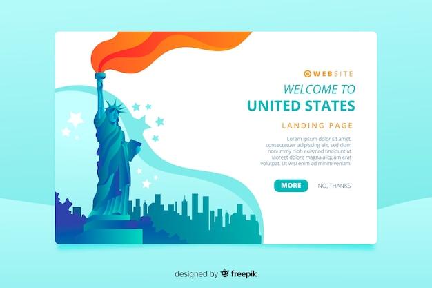 Bem-vindo à página de destino dos estados unidos Vetor grátis