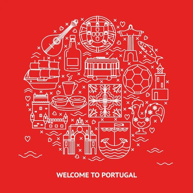 Bem-vindo à ronda de portugal Vetor Premium