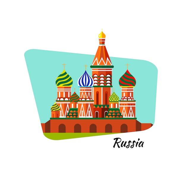 Bem-vindo à russia. catedral de são basílio na praça vermelha - ilustração plana conservada em estoque. projeto da paisagem. Vetor Premium