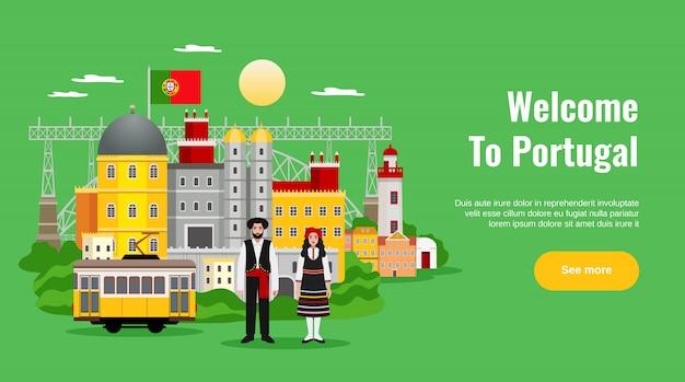Bem-vindo ao banner horizontal de portugal com símbolos de transporte e cozinha planos Vetor grátis