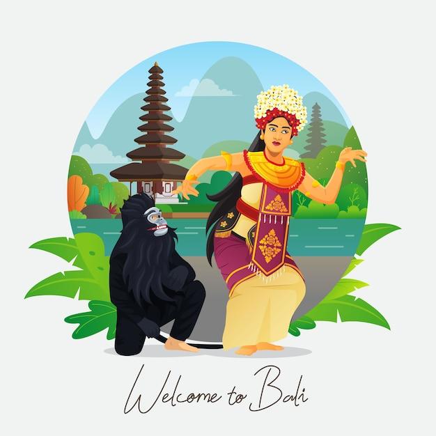 Bem-vindo ao cartão de felicitações de bali com dançarina balinesa Vetor Premium