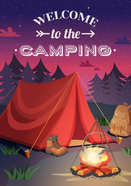 Bem-vindo ao cartaz de acampamento Vetor grátis