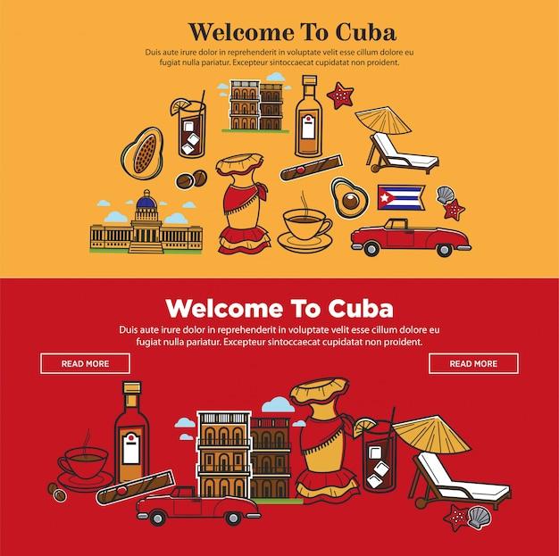 Bem-vindo ao cartaz promocional de cuba com símbolos nacionais Vetor Premium