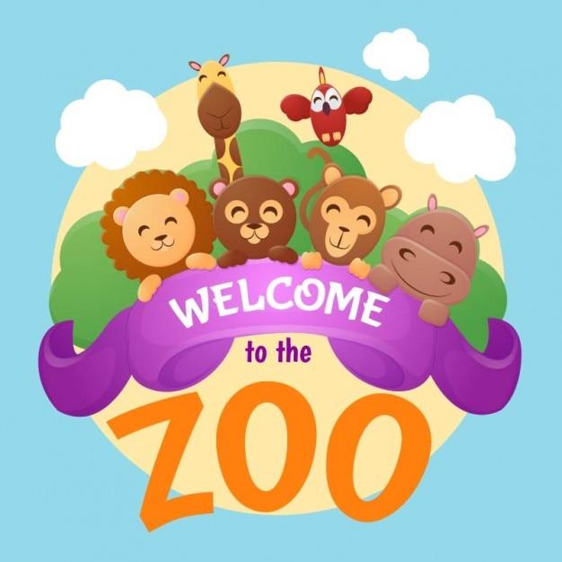 Bem-vindo ao fundo do jardim zoológico Vetor grátis