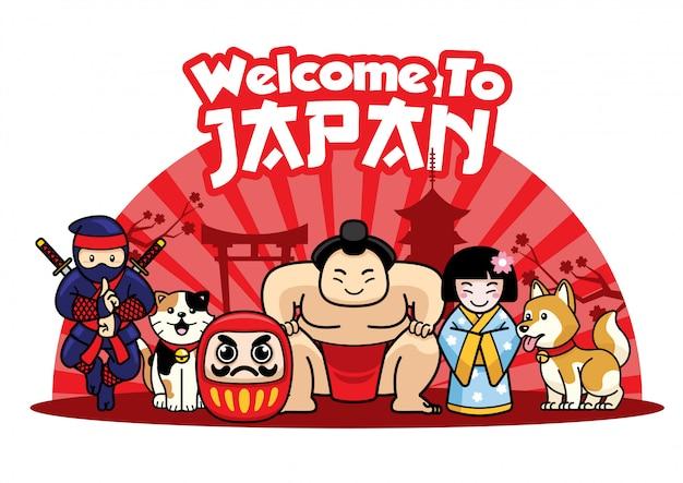 Bem-vindo ao japão com personagens fofinhos japoneses Vetor Premium