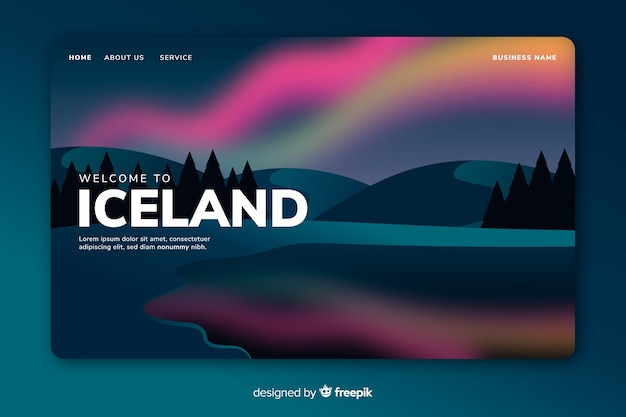 Bem-vindo ao modelo de página de destino da islândia Vetor grátis