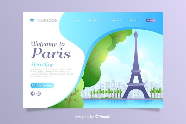Bem-vindo ao modelo de página de destino de paris Vetor grátis
