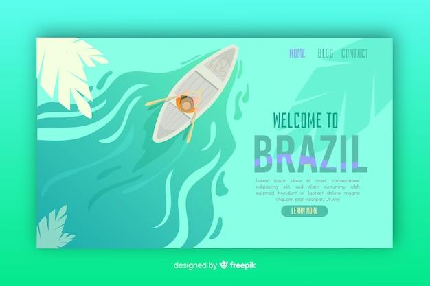 Bem-vindo ao modelo de página de destino do brasil Vetor grátis