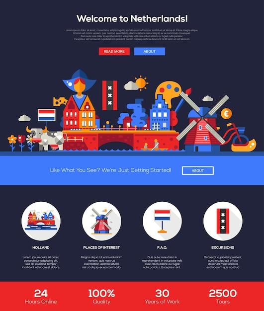 Bem-vindo ao modelo de site de viagens da holanda Vetor Premium