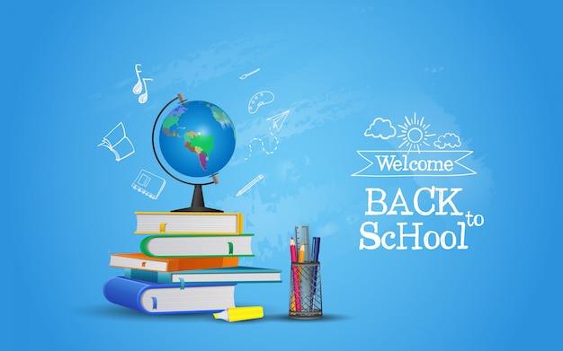 Bem-vindo de volta à escola com equipamentos. pronto para estudar Vetor Premium