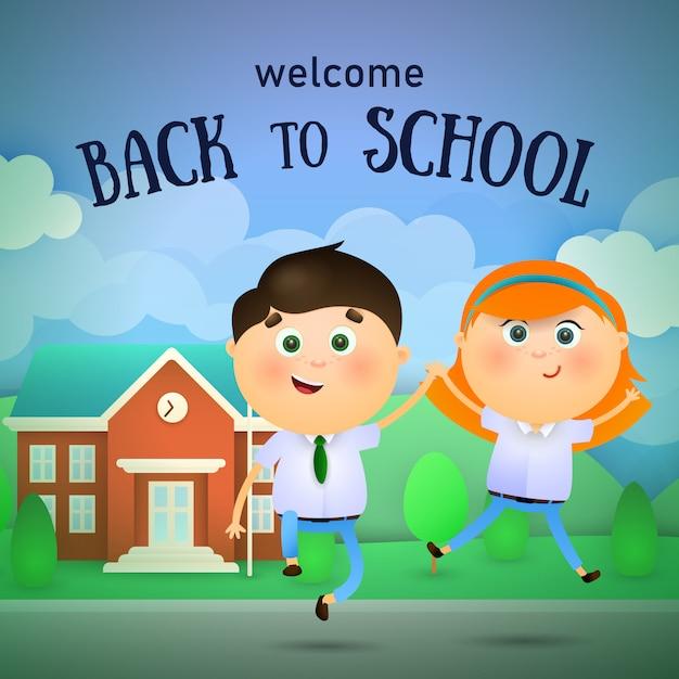 Bem-vindo de volta à escola letras, feliz menino e menina pulando Vetor grátis