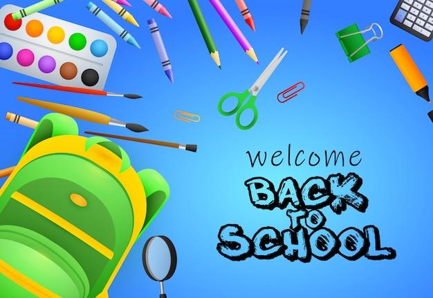 Bem-vindo de volta à escola lettering, pincéis, tesoura Vetor grátis