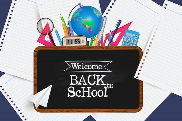 Bem vindo de volta à escola. pegue seus suprimentos. Vetor Premium
