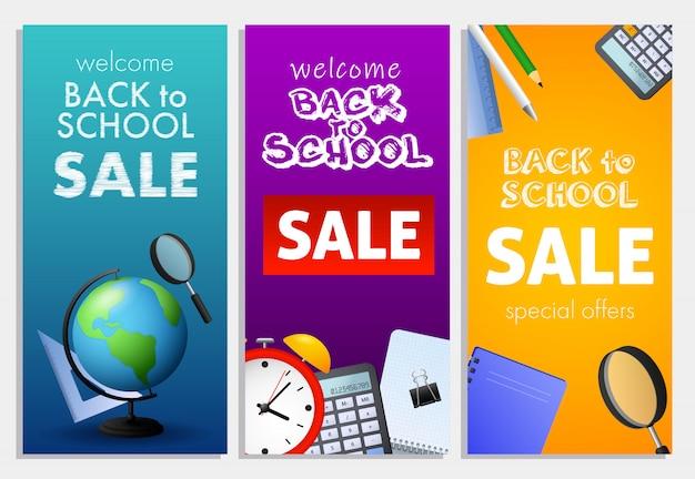 Bem-vindo de volta à escola, venda conjunto de letras, globo da terra Vetor grátis