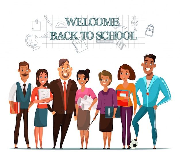 Bem-vindo de volta à ilustração escolar com professores Vetor Premium