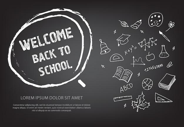 Bem-vindo de volta à rotulação da escola na mão desenhada círculo de giz Vetor grátis