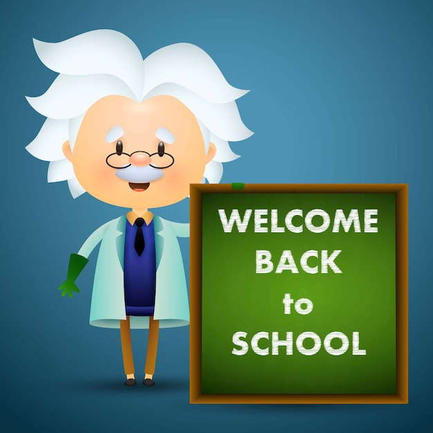 Bem-vindo de volta ao projeto da escola. caráter de professor antigo Vetor grátis