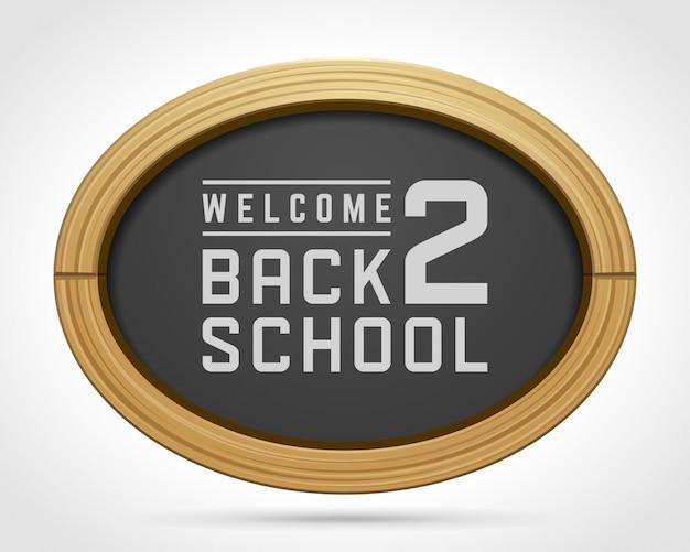 Bem-vindo de volta ao texto da escola de desenho de giz no quadro-negro Vetor Premium