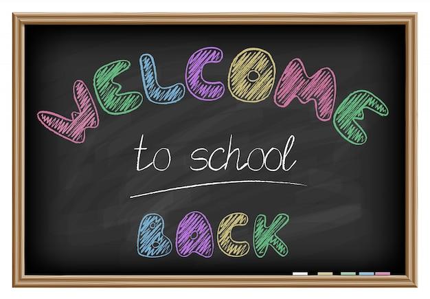 Bem-vindo de volta às letras da escola. efeito de quadro-negro. ilustração vetorial Vetor Premium
