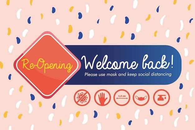 Bem-vindo de volta, ícones de sinais de abertura e protocolos de prevenção Vetor Premium