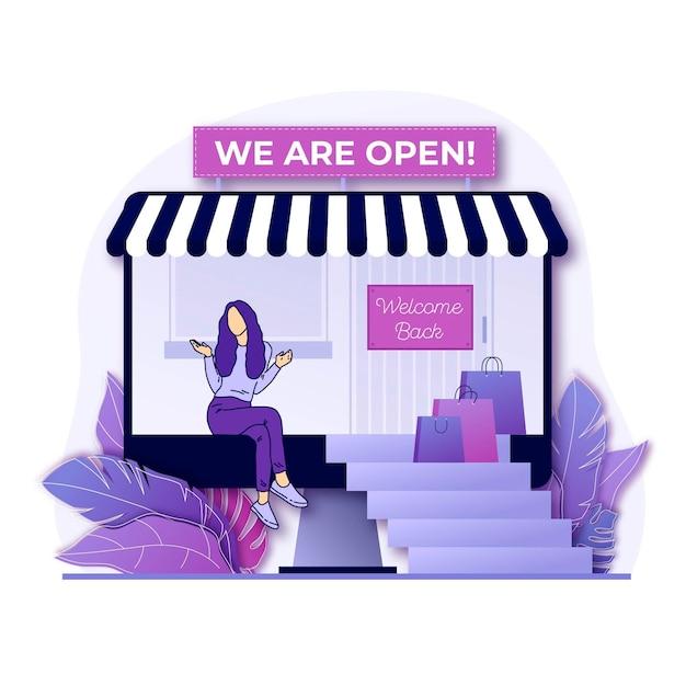 Bem-vindo de volta, somos loja aberta Vetor grátis