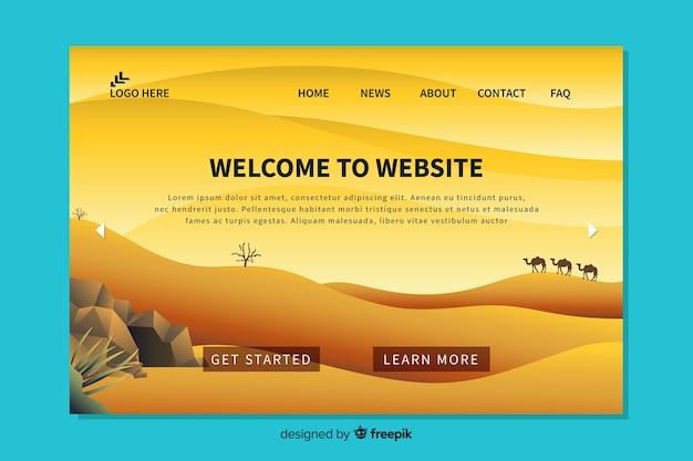 Bem-vindo design plano de página de destino Vetor grátis