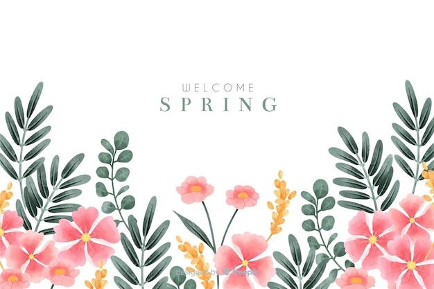 Bem-vindo fundo primavera com flores em aquarela Vetor grátis