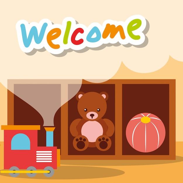 Bem-vindo jardim de infância brinquedos urso trem e bola Vetor Premium