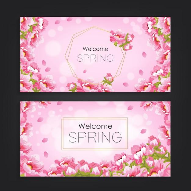 Bem-vindo primavera com fundo do teste padrão de flor Vetor Premium