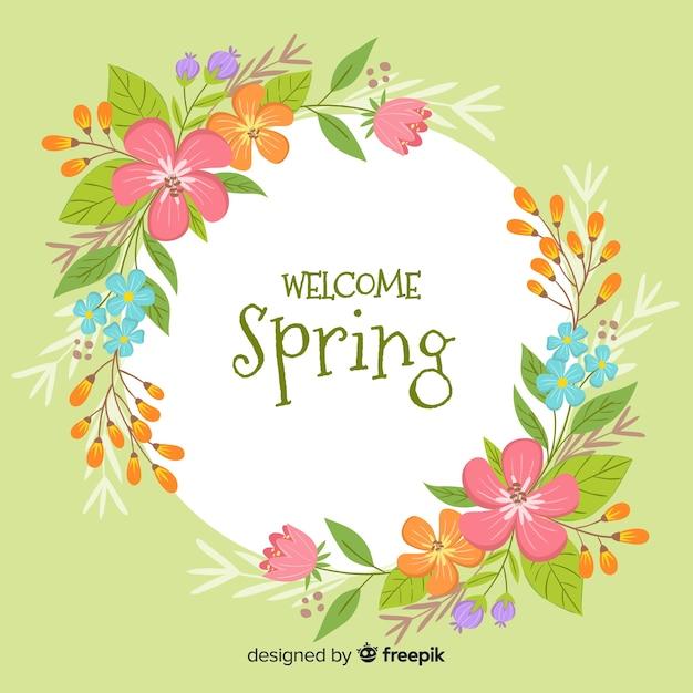 Bem-vindo, primavera, fundo Vetor grátis
