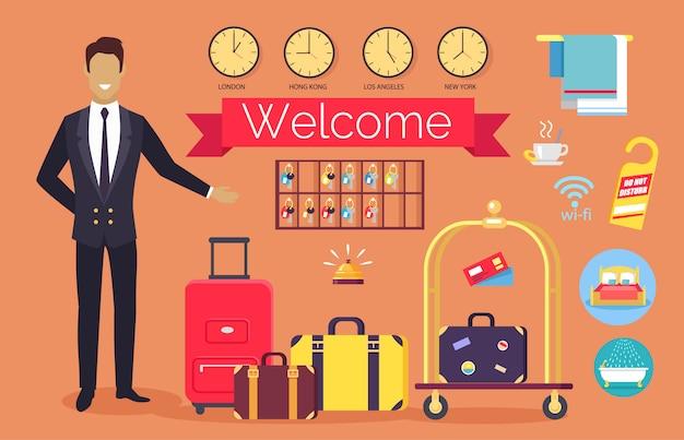 Bem-vindo serviço de hotel, clientes de saudação de administrador Vetor Premium