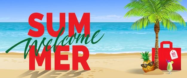 Bem-vindo verão, grande venda, banner. bebida gelada, abacaxi, óculos de sol, palmeira, bolsa vermelha, praia Vetor grátis