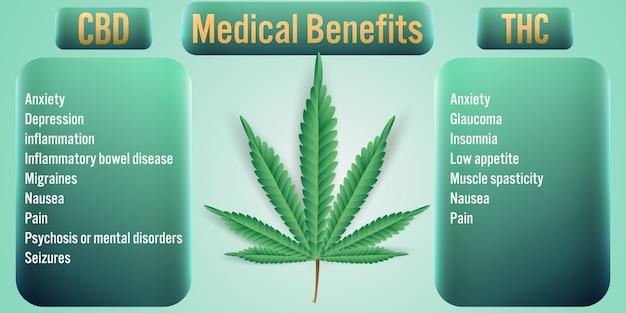Benefícios médicos da cannabis thc Vetor Premium