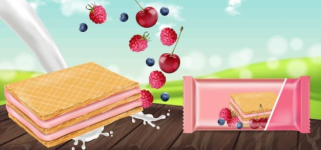 Berry cream waffles cookies mock up Vetor Premium
