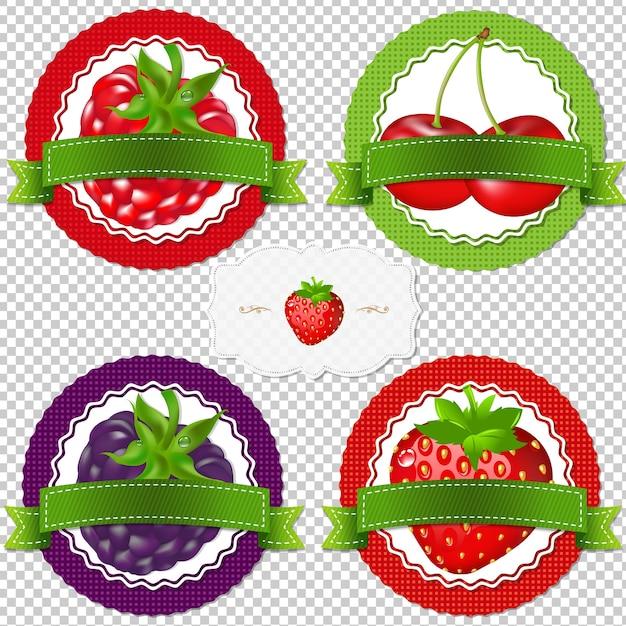 Berry labels com gradient mesh, ilustração Vetor Premium