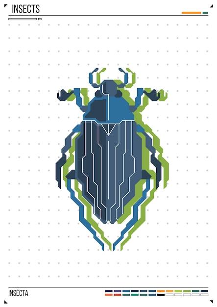Besouro geométrico de vetor ou besouro. inseto no fundo do cartaz Vetor Premium