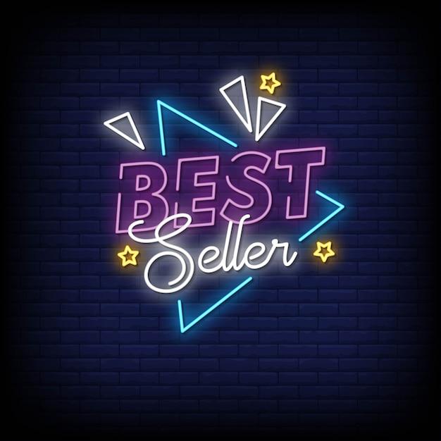 Best seller neon signs style text Vetor Premium