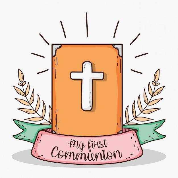 Bíblia com folhas de ramos e fita para primeira comunhão Vetor Premium