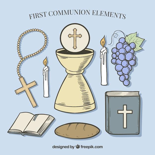 Bíblia com vários elementos de primeira comunhão Vetor grátis