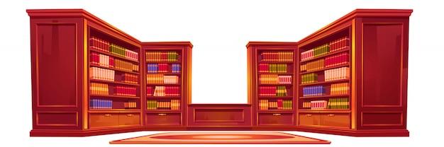 Biblioteca antiga de luxo, material do interior do ateneu. Vetor grátis