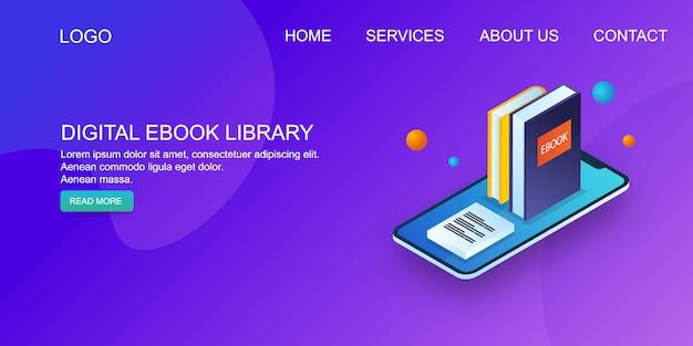 Biblioteca de livros eletrônicos Vetor Premium