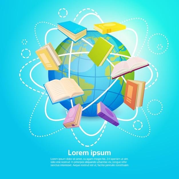 Biblioteca de livros leia o conceito de conhecimento global de educação escolar Vetor Premium