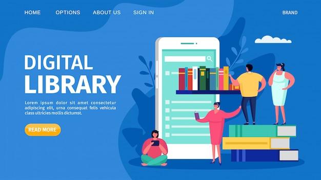 Biblioteca do livro de digitas e educação em linha, ilustração. conceito de estudo de tecnologia web, desembarque de conhecimento de internet. Vetor Premium