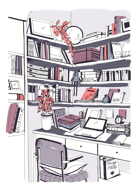 Biblioteca doméstica interior moderna, estantes, ilustração colorida desenhada de mão de trabalho no local de trabalho. Vetor Premium