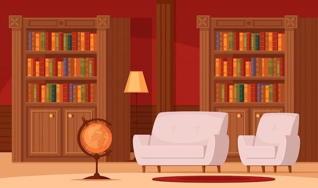 Biblioteca tradicional interior composição ortogonal plana com estantes de livros globo terrestre lâmpada sofás confortáveis Vetor grátis