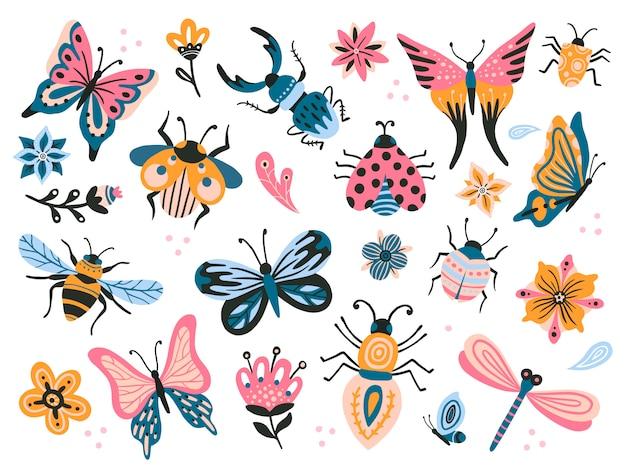 Bichinhos fofos. criança desenho insetos, borboletas voa e bebê joaninha. borboleta flor, mosca inseto e besouro conjunto plano Vetor Premium