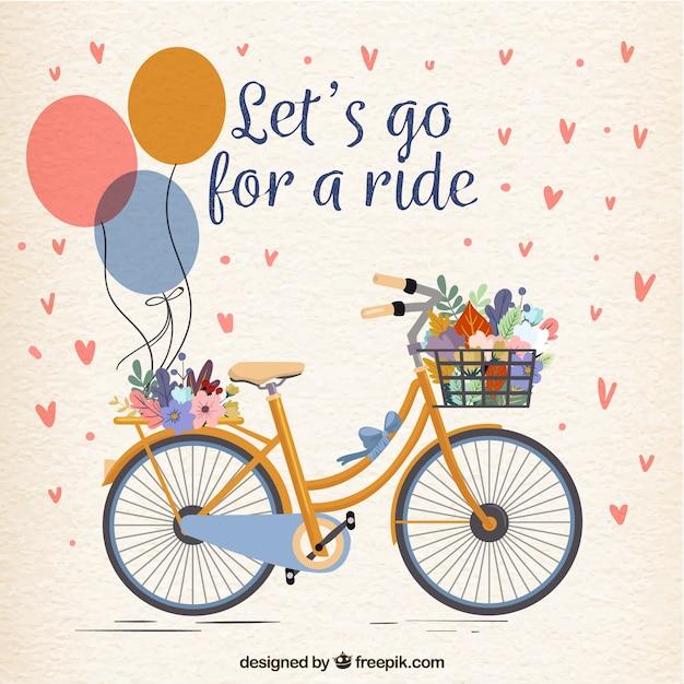 Bicicleta bonita com balões e flores Vetor grátis