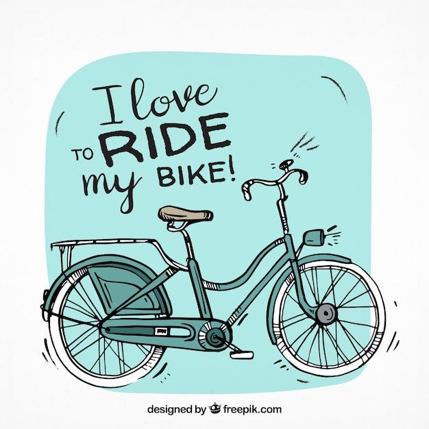 Bicicleta clássica com estilo desenhado a mão Vetor Premium