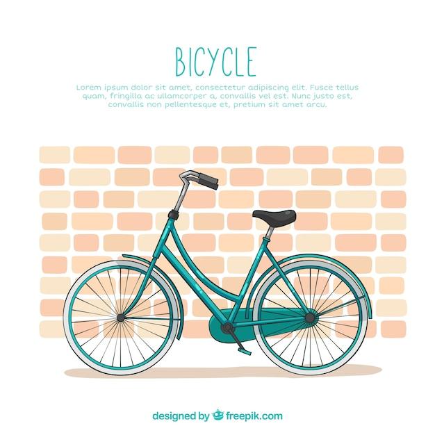 Bicicleta clássica com parede de tijolos Vetor grátis
