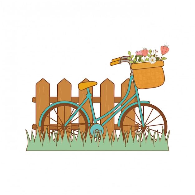 Bicicleta com cesta floral e vedação na paisagem Vetor Premium